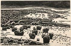 "Galisteo Basin, 2005 ~ woodcut print, 10.5"" x 16.25"" ~ Thayer Carter"
