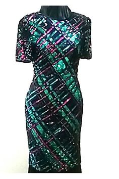 Laurence Kazar Silk Sequin and Bead Bias cut dress by VintageRiche on Etsy
