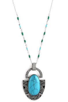 LARGE OVAL STONE ACCENT TRIBAL NECKLACE