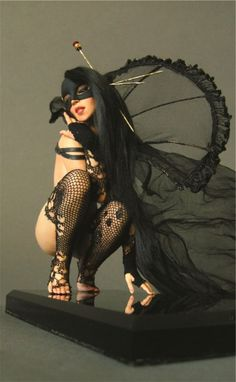 Dark Masquerade Pin Up Girl  by Nicole West. OOAK Doll.