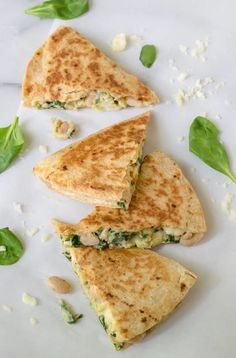 2. Breakfast Quesadilla With Cheese, Spinach, and White Beans #freezermeals #frozenfood http://greatist.com/eat/healthy-freezer-meals