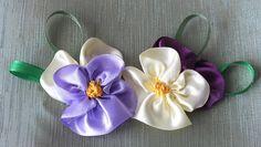 цветок Анютины глазки из лент за 5 мин Quick & Easy Satin Ribbon Flower ...