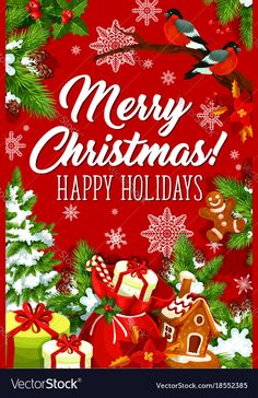 Merry christmas happy holiday greeting card vector image on VectorStock Christmas Wishes Greetings, Happy Holidays Greetings, Merry Christmas Happy Holidays, Holiday Greeting Cards, Christmas Images, Merry Xmas, Christmas Ornaments, Christmas Tree, Star Decorations