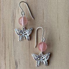 Sterling Silver Butterfly Charm & Cherry Quartz Earring