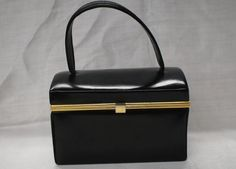 Vintage 1940's 50's John Shillito Black Leather Gold Brass Handbag