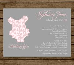 onesie baby shower invitation diaper shower invite itu0027s a girl sprinkle shower chevron pink and grey digital file printable 5x7
