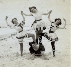 """This is from a Flickr pool I just discovered today, """"The Smiling Victorian."""" It's really amazing. When you see pictures of people back then actually SMILING, it just warms your heart, IMO. It makes them seem actually real! I can just picture these four friends having in-jokes, teasing each other... like friends today! (It's still a little skimpy for 1899, though!)"""