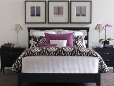 19 purple and white bedroom combination ideas - Black And White Bedroom Decorating Ideas