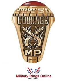 Military Police Rings displaying the cross pistols, the word courage can be changed to show your name, rank or specific dates related to you service. These rings are available in Silver and Gold. They are shipped all over the world and are easy to design online.