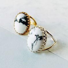 Eclectic Eccentricity  Howlite Marble Effect Ring