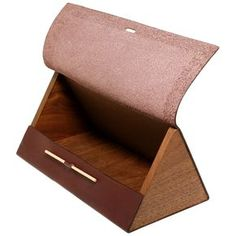Triangle Brown Leather Box by Trafalgar. Sleek storage for watches, pencils - whatever! this would be easy to duplicate. scrap leather glued to wood. I would use screws or upholstery tacks to make it more secure Leather Box, Sewing Leather, Leather Gifts, Leather Tooling, Leather Craft, Brown Leather, Crea Cuir, Wooden Bag, Leather Projects