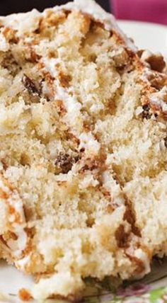 Pecan Cream Cake - Packed with coconut and pecans and covered in cream cheese frosting