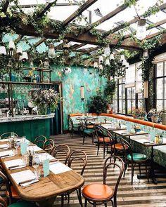 Pink Mama restaurant in Paris is something straight out of a fairy tale! - Pink Mama restaurant in Paris is something straight out of a fairy tale! The food is delicious and - Restaurant Interior Design, Home Interior, Interior Architecture, Bistro Interior, Interior Decorating, Coffee Shop Design, Cafe Design, House Design, Restaurants In Paris