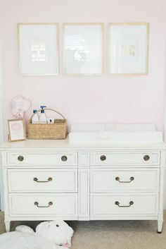 Super clean and simple, this changing table is also nice and big to hold everything you need for changing time.