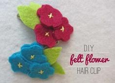 Felt flower hair clip tutorial