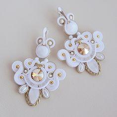 White Wedding Macrame Jewelry, Boho Jewelry, Wedding Jewelry, Handmade Jewelry, Jewellery, Biscuit, Bride Earrings, Soutache Necklace, Passementerie