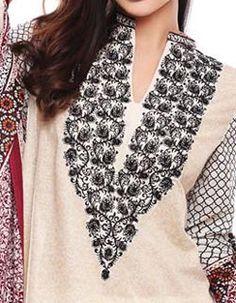 Collar Neck Embroidery V Shape Design