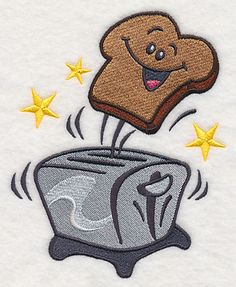 """LARGEST SIZE: Toaster with Happy Toast {Size:4.83""""(w) x 6.14""""(h) (122.7x 156.0mm) Stitches:30706 K.H.}"""