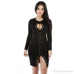 9c5175fe88 Plus Size 2XL Woman Clothing Fashion Dress Long Sleeve Mini Autumn Sexy Lace-Up  Keyhole Bodycon Dress Item W860429A