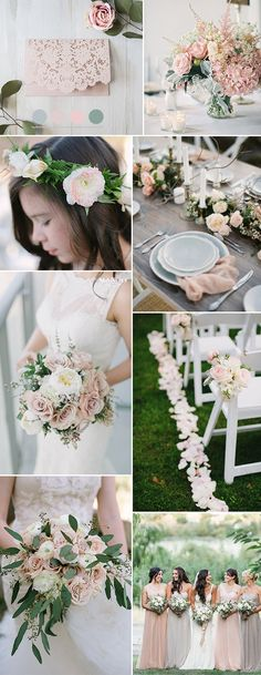 rose pink and sage green spring wedding color ideas