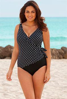 57305acc6f Longitude White Dots Plus Size Side Tie Surplice Swimsuit - swimsuitsforall Longitude  Swimwear
