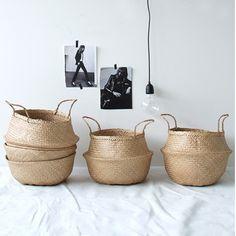 natural basket mit griffen korb geflochten bloomingville mit griffen natur schwarz naturals basket aufbewahrung / Heimelig-Shop