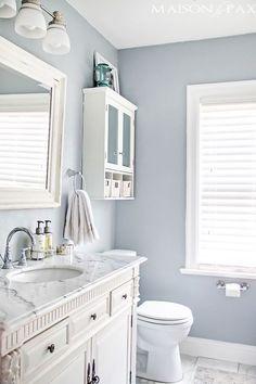 33 Decor Ideas That Make Small Bathrooms Feel Bigger Beautiful Small Bathroom Paint Colors For Small Bathrooms The Cheerful Bathroom Color Ideas Snails View Sma Bad Inspiration, Bathroom Inspiration, Bathroom Inspo, Interior Inspiration, Bathroom Renos, Bathroom Grey, Bathroom Storage, Gray And White Bathroom Ideas, Bathroom Cabinets