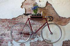FIXA multi functional wood bike shelf - wall holder furniture mount