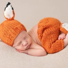 """Rusty Fox Newborn Set $68.00  This adorable """"Rusty"""" fox knit set is perfect for your newborn.  These are perfect for a shower gift or photo prop."""