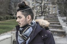 Paul for GEORGE by cocccon > non violence silk scarf collection. Model: Paul Gonzalez Sanchez Hair & Make-Up:  Angelique Waltenberg Photography & Styling:  Georg Andreas Suhr Label: GEORGE by cocccon Canada Goose Jackets, Fashion Photography, Hair Makeup, Winter Jackets, Label, Shoulder Bag, Silk, Bags, Collection