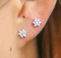 Diamond Flower Studs ear piercings Tiny flower earrings post earings