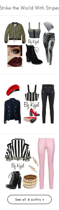 """""""Strike the World With Stripes"""" by kajalsandy123 on Polyvore featuring Hollister Co., Journee Collection, The North Face, Unravel, Theory, Gucci, one spo, Milly, Just Cavalli and Charlotte Russe"""