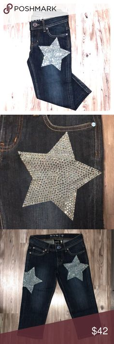 Limited Production Star Studded Jeans Never worn - item won at auction but runs a bit smaller than listed size. All crystal studs in tact, crystals on front, back, and buttons. 5-pockets, bottom of jeans sits at mid-calf. NVM 9 - Christian Audigier Jeans Ankle & Cropped