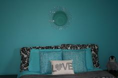Big Nanny blogs about a teenager room refresh and the HomeGoods mirror & throw pillows she found - they looked to Pinterest for inspiration!