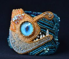 RESERVED PARTIAL PAYMENTfor the fish connoisseur - Anglerfish bead embroidered…
