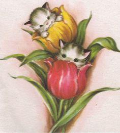 Kittens in tulips, via Flickr.