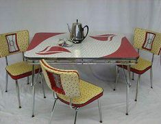 Awesome Mid Century Yellow Red and White Formica Table.