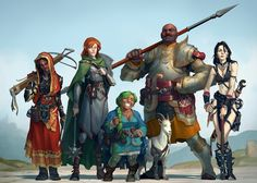 Pathfinder RPG party commission by skiorh (Aleksey Kovalenko) Fantasy Warrior, Fantasy Rpg, Medieval Fantasy, Fantasy Artwork, Fantasy Adventurer, Dungeons And Dragons Characters, Dnd Characters, Fantasy Characters, Fantasy Character Design