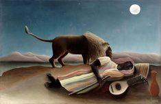 Henri Rousseau, The Sleeping Gypsy, 1897  more moon in art:  http://7rano.com/post/94311598592/ksiezyc-w-sztuce