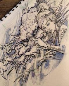 Dragon and geisha sketch. #dragon #geisha #irezumicollective #irezumi #asianink #asiantattoo #illustration #sketch #tattoo #chronicink