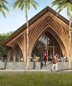 restaurant arquitectura VTN architects intricately arched restaurant in xiamen uses locally-sourced bamboo Bamboo Architecture, Vernacular Architecture, Concept Architecture, Sustainable Architecture, Amazing Architecture, Architecture Design, Chinese Architecture, Architecture Student, Ancient Architecture
