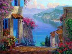 Reflections of Lake Como by Mikki Senkarik  Ceramic Tile Mural Backsplash - MSA146