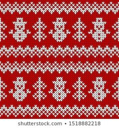 Vector de stock (libre de regalías) sobre Patrón sin fisuras de punto.258972551 Illustrations, Christmas Snowman, Christmas Sweaters, Knitted Hats, Knitting Patterns, Bohemian Rug, Crochet, Vectors, Macrame