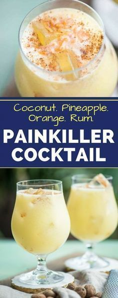 The Painkiller Drink If youre looking for a great warm weather cocktail recipe make these Painkiller Drinks! With coconut cream pineapple juice rum and orange whats not to love? The post The Painkiller Drink appeared first on Getränk. Painkiller Cocktail, Cocktail Drinks, Painkiller Recipe, Disaronno Drinks, Hennessy Drinks, Rum Cocktails, Champagne Drinks, Tea Drinks, Cocktail Mix