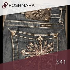 """Miss Me awesome jeans - bootcut, EUC. Miss Me jeans, bootcut, 27"""" waist, the inseam is 33&1/2"""". These fabulous jeans have great bling & are in excellent used condition. What's not to love? 😊 Miss Me Jeans"""