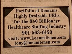 Domains for sale in the WSJ. I never heard of Locum Tenen until now. Health Care, Company Logo, News, Health