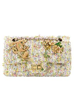 Chanel pastel tweed purse with gold flowers, insects, and chanel logo hardware. Best Handbags, Chanel Handbags, Purses And Handbags, Ladies Handbags, Coco Chanel Bags, Chanel Logo, Vintage Clutch, Chanel Couture, Little Bag