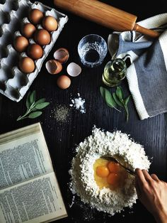 I like this photo for its above perspective. It's not a finished shot, but it is a good transition photo for a blog. I like how the person I. The picture has an egg in the flour. I wish my cooking area looked like this when I was cooking Cooking Photography, Dark Food Photography, Cooking Photos, Flatlay Food, Under The Tuscan Sun, Egg Photo, Tuscan Pasta, Duck Eggs, Simply Beautiful