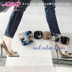 ネイルデザインを探すならネイル数No.1のネイルブック Blue Nail Designs, Pedicure Designs, Feet Nail Design, Cute Pedicures, Uñas Fashion, Japanese Nail Art, Manicure Y Pedicure, Toe Nail Art, Acrylic Nails