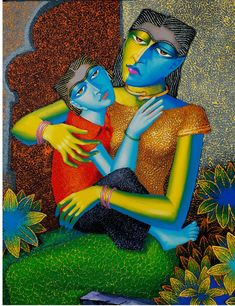 The artist used a very distinctive technique of knife on canvas to reflect mother's altruistic love for her child. The colors integrated in this painting are bright and full of life.